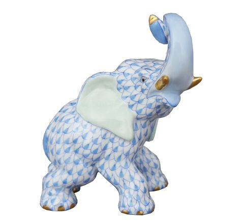 Trumpeting Elephant Blue - Porcelain Animal Figurine 85mm | Herend