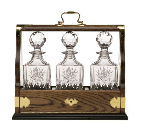 Kintyre Triple Tantalus (Solid Oak) - Containing 3 Crystal Kintyre Square Spirit Decanters - (Gift Boxed) | Royal Scot Crystal