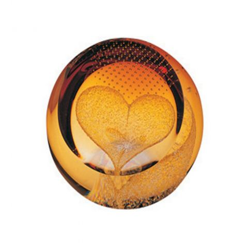 Heart of Gold Glass paperweight ( Love ) 65mm | James Pirie