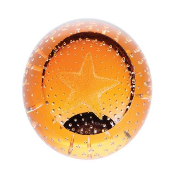 Gold Star Glass Paperweight, 80mm (Celebration) | James Pirie