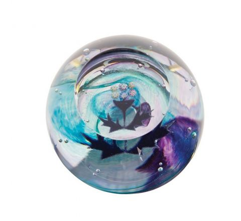 Mini Thistle Glass Paperweight (Scottish) (Floral) - 65mm | James Pirie