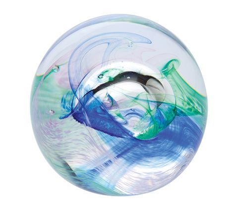 Mooncrystals Ocean Blue Glass Paperweight 55mm | James Pirie