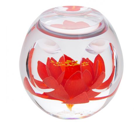 Bijoux Red Lily Glass Paperweight 70mm (Floral) | James Pirie