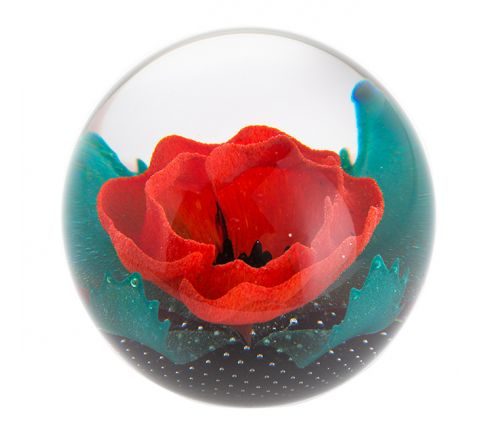 Remembrance - Remembering Glass Paperweight (Poppy) - 85mm | Caithness Glass