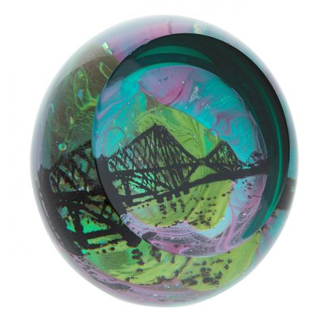 Scottish Landmarks  Forth Bridge Glass Paperweight (Northern Lights)  80mm | James Pirie
