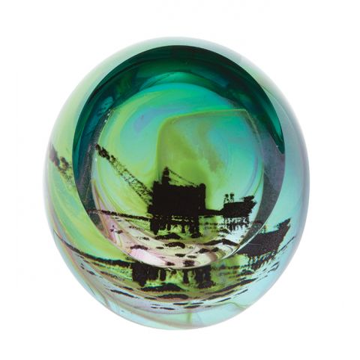 Northern Aurora - Oil Rig Glass Paperweight (Northern Lights) (Scottish Landmarks) 80mm | Caithness Glass