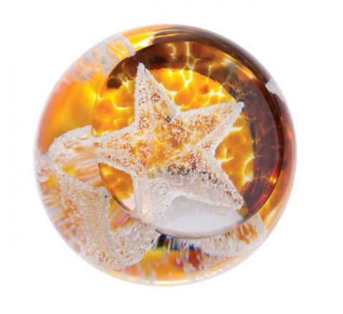 Little Star Gold Glass Paperweight, 50mm (Celebration) |Caithness Glass
