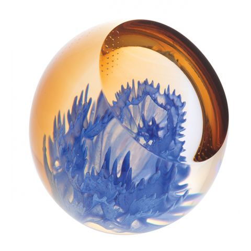 Cornflower glass paperweight, 67mm| Caithness Glass