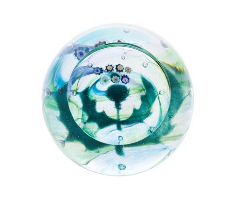 Milli Thistle (Flower of Scotland) Glass Paperweight (Scottish) (Floral) - 65mm -|Caithness Glass