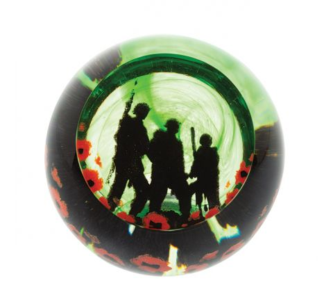 Remembrance - Proud Soldiers Glass Paperweight - 80mm | Caithness Glass