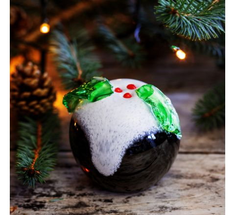 Christmas Pud Glass paperweight, 80mm |Caithness Glass