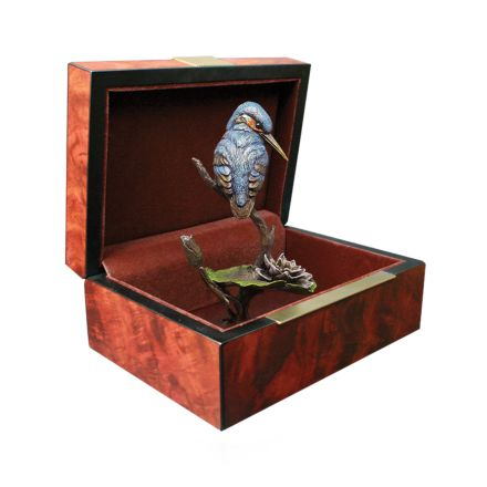 Kingfisher with Lily Bronze Sculpture - Handpainted in box 100mm | James Pirie