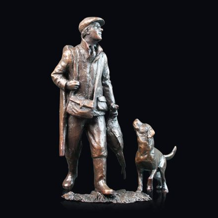 End of the Day - Hunter and Dog Bronze Sculpture