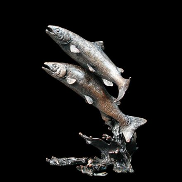 Salmon Pair Bronze Sculpture