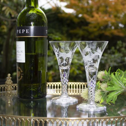 Jacobean Air Twist - 2 Flower of Scotland (Thistle) Port / Sherry Glass 140mm (Gift Boxed)