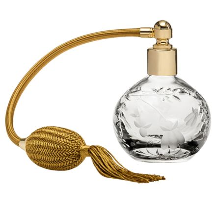 Annabel Crystal Glass Perfume Bottle (Round) with Gold Atomiser (Gift Boxed)