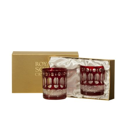 Belgravia - 2 Large Crystal Tumblers (Ruby Red) - 95mm (Presentation Boxed) | Royal Scot Crystal