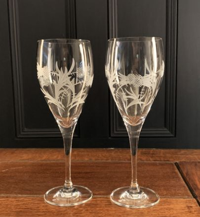 SALE - Flower of Scotland 2 Goblets 235mm (Gift Boxed) SPECIAL PURCHASE
