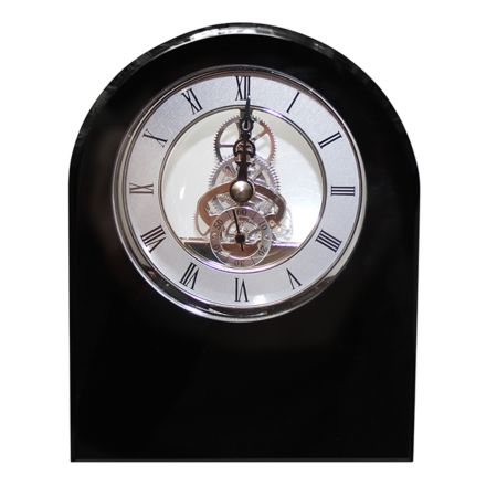 Clock - Large Black Dome Crystal Clock (Presentation Boxed)