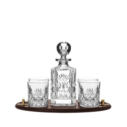 Kintyre Club Tray Set comprising 1 Crystal Kintyre Square Spirit Decanter & 4 Large Crystal Tumblers - (Gift Boxed) | Royal Scot Crystal