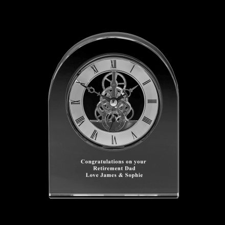 Personalised - Crystal Engraved Contemporary Dome Clock - 150mm (Presentation Boxed) | Royal Scot Crystal