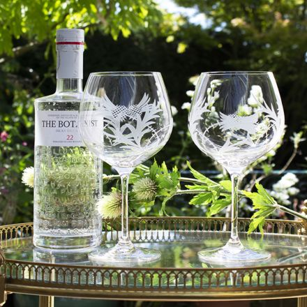 Flower of Scotland (Thistle) - 2 Gin and Tonic (G&T) Copa Glasses (Gift Boxed)