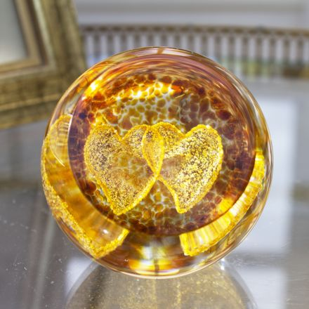 Gold Love Hearts Glass paperweight / Ornament - Exclusive to James Pirie 60mm | James Pirie