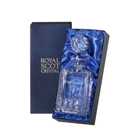 Personalised - Hand Cut Crystal Engraved Highland Crystal Square Spirit Decanter - 245mm (Presentation Boxed) | Royal Scot Crystal