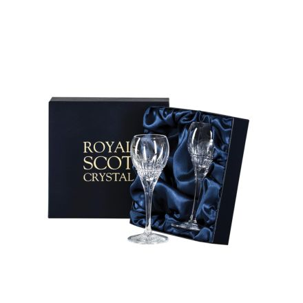 Iona - 2 Crystal Port / Sherry Glasses 165mm (Presentation Boxed)   Royal Scot Crystal - New!