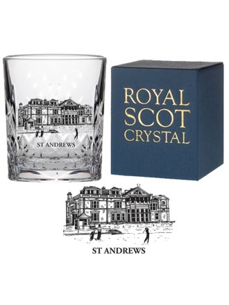 Kintyre - Crystal Double Tot Glass engraved St Andrews Club House (Gift Boxed)