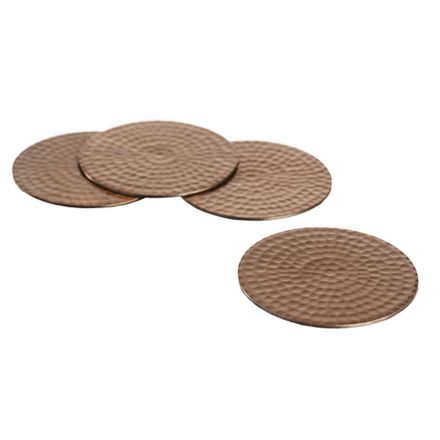 4 Flat Hammered Copper Coasters
