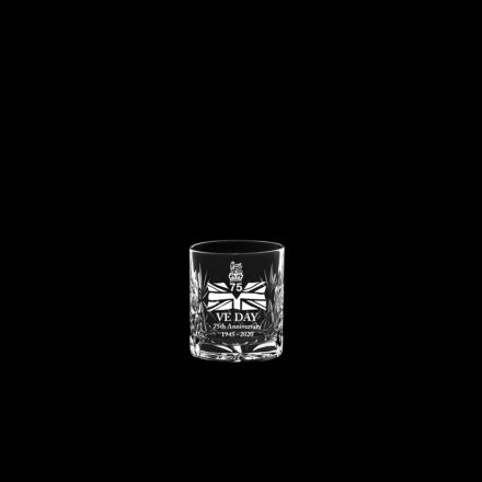 VE Day - 75th Anniversary Commemorative Kintyre Crystal Double Tot Glass - 68mm (Gift Boxed) | Royal Scot Crystal