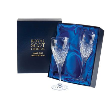 Kintyre - 2 Port / Sherry Crystal Glasses  - 165mm (Presentation Boxed)   Royal Scot Crystal