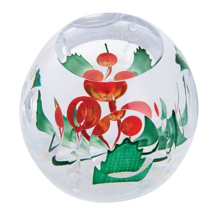 Holly Berries Glass Paperweight (Festive Fun) ( Christmas ) (Floral), 100mm - Limited Edition of 150 | James Pirie