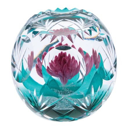Hot House Magenta Magic Glass Paperweight, 90mm (Floral) - Limited Edition of 100 | James Pirie