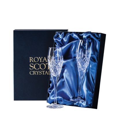 London - 2 Crystal Champagne Flutes 218mm (Presentation Boxed) | Royal Scot Crystal  - New Shape!