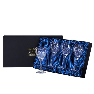 London - 4 Crystal Wine Glasses 195mm (Presentation Boxed) | Royal Scot Crystal - New shape!