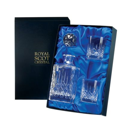 London - Crystal Square Spirit Decanter & 2 Crystal Whisky Tumblers (Presentation Boxed) | Royal Scot Crystal