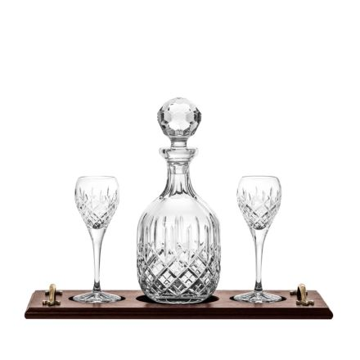 London Port Tray Set: Crystal Port Decanter & 2 Crystal Port Glasses (Solid Oak) (Gift Boxed) | Royal Scot Crystal