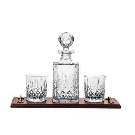 London Solid Oak Whisky Tray & Crystal Square Spirit Decanter & 2 Large Crystal Tumblers (Gift Boxed) | Royal Scot Crystal
