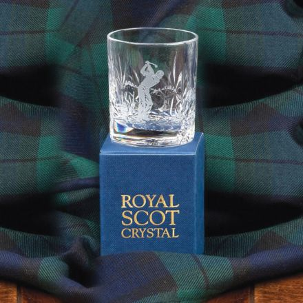 Kintyre Tot (Shot) Glass engraved golfer (Gift Boxed)