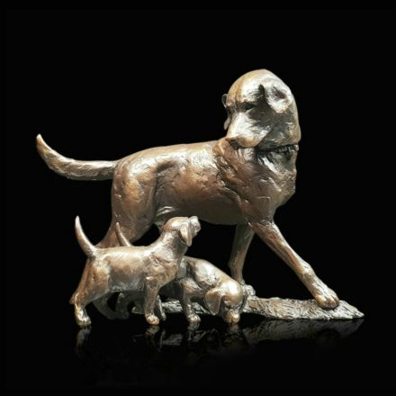 Patience - Labrador and Pups Bronze Sculpture