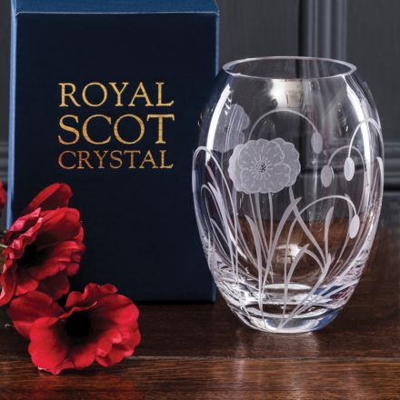 Poppy Field - Small Barrel Vase 145mm (Gift Boxed) | NEW  | Royal Scot Crystal