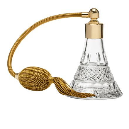 Regency Crystal Glass Perfume Bottle (Conical) with Gold Atomiser (Gift Boxed)