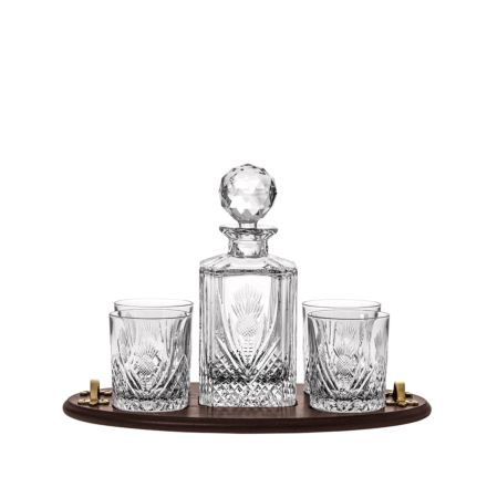 Scottish Thistle Club Tray Inc. Crystal Square Spirit Decanter & 4 Large Crystal Tumblers (Solid Oak) -  (Gift Boxed) | Royal Scot Crystal
