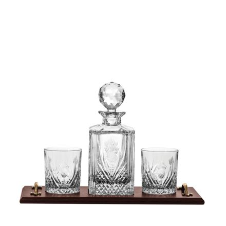 Scottish Thistle Solid Oak Whisky Tray & Crystal Square Spirit Decanter & 2 Large Crystal Tumblers (Gift Boxed) | Royal Scot Crystal