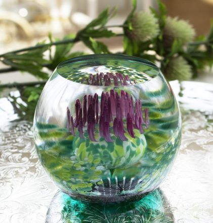 Caledonian Thistle (Flower of Scotland) Glass Paperweight (Scottish) - Exclusive to James Pirie, 80mm | James Pirie