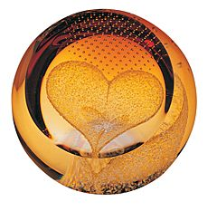Heart of Gold Glass paperweight ( Love ) 65mm | James Pirie