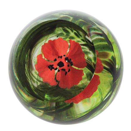 WW1 Flanders Field Poppy glass paperweight, 80mm (Remembrance) | James Pirie