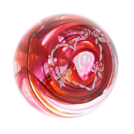 Celebration 40 Glass Paperweight ( RUBY ) (Ruby Wedding Anniversary / Birthday) 80mm (Love) | James Pirie